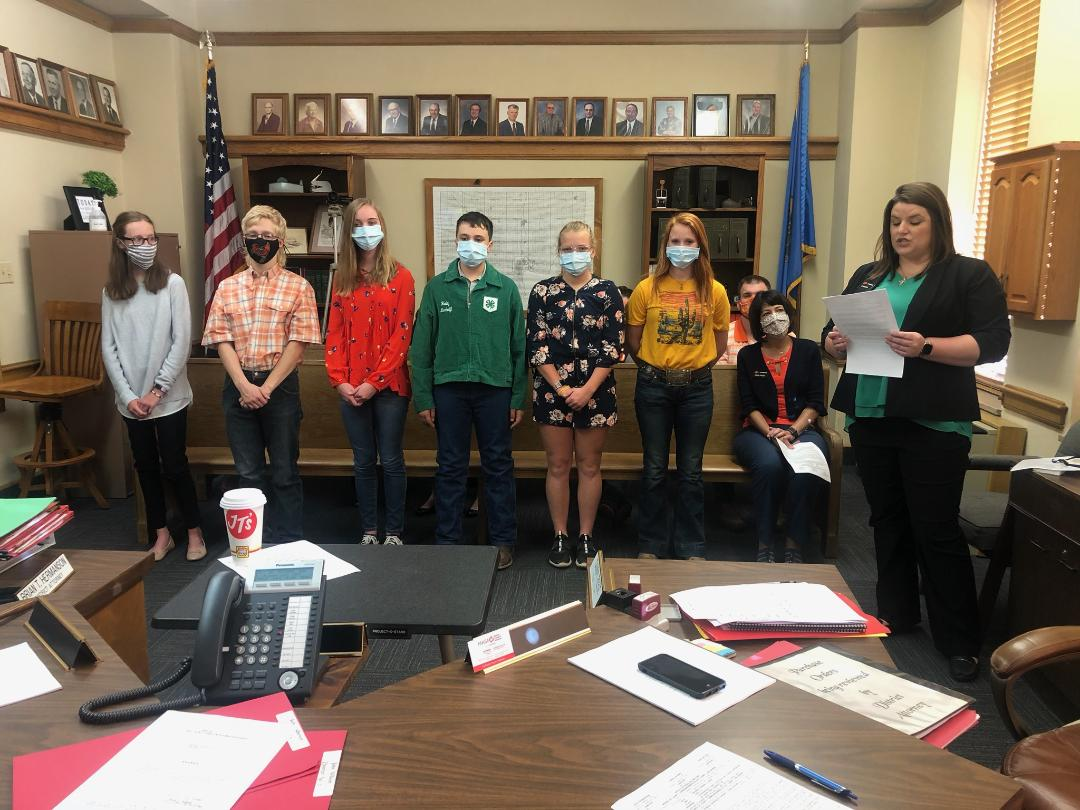 Kay County 4H members present proclamation to the Board of County Commissioners